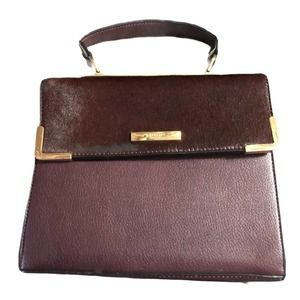 Dune Burgandy Leather Bag Calf Hair Accent Handle
